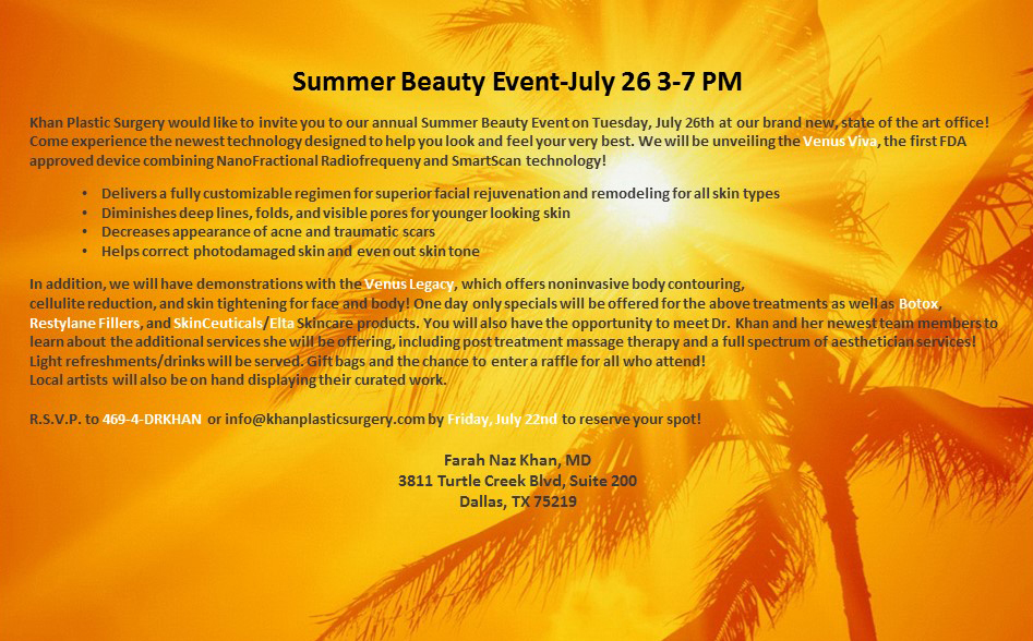 Summer-Beauty-Event-1 Summer Beauty Event-July 26, 3-7 PM Dallas Plastic Surgeon